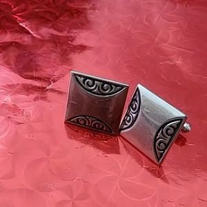 Vintage Silver Tone Filigree Cuff Links Square